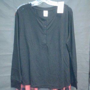 Women's Henley Pajama Set - Stars Above Black/Red